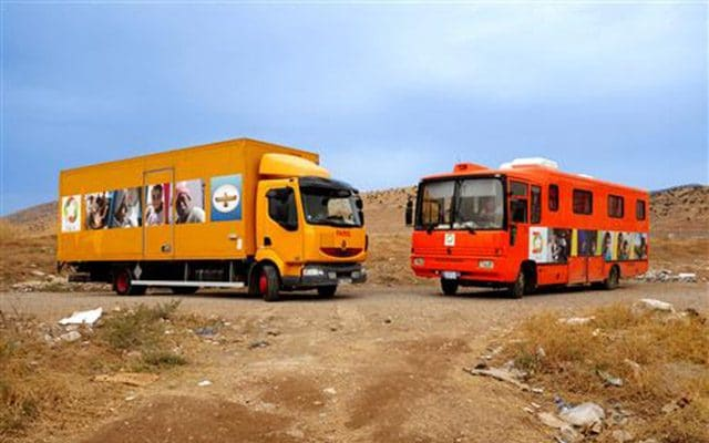 Bus dispensaire pour femmes et enfant en Irak